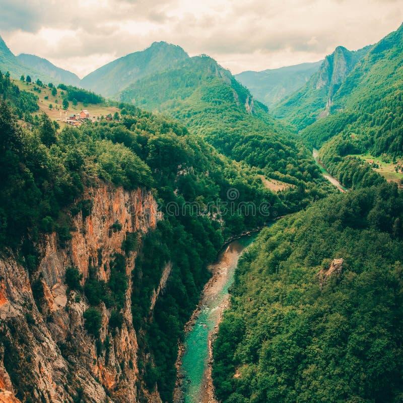 Tara River ed il canyon e la sua campagna, nel Montenegro del Nord Il Montenegro, Tara River accanto al ponte di Djurdjevi fotografie stock libere da diritti