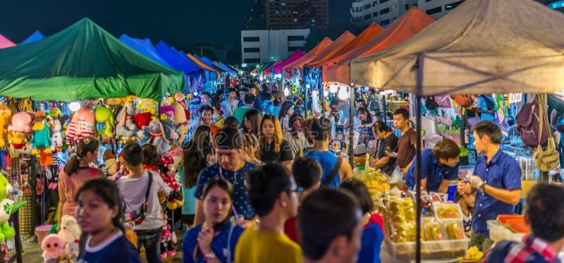 Tarad Rotfai, Bangkok, Thailand. Bangkok, Thailand - Jan 20, 2016 Rotfai night market, open around 6 pm to midnight only Friday to Sunday. Visit by taking MRT to royalty free stock photography