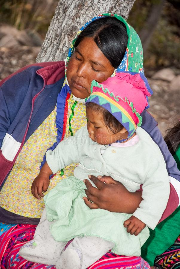 Tarahumara Indian family - mother and kid in Copper Canyon. March 03, 2010 - Copper Canyon - Sierra Madre, Chihuahua State, Mexico, South America royalty free stock photography