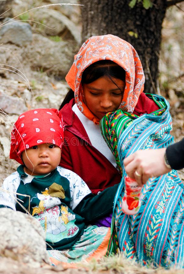 Tarahumara Indian family - mother and kid in Copper Canyon. March 03, 2010 - Copper Canyon - Sierra Madre, Chihuahua State, Mexico, South America royalty free stock images
