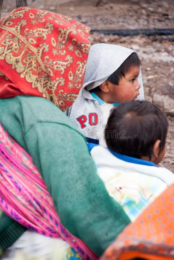 Tarahumara Indian family - mother and kid in Copper Canyon. March 03, 2010 - Copper Canyon - Sierra Madre, Chihuahua State, Mexico, South America stock photo