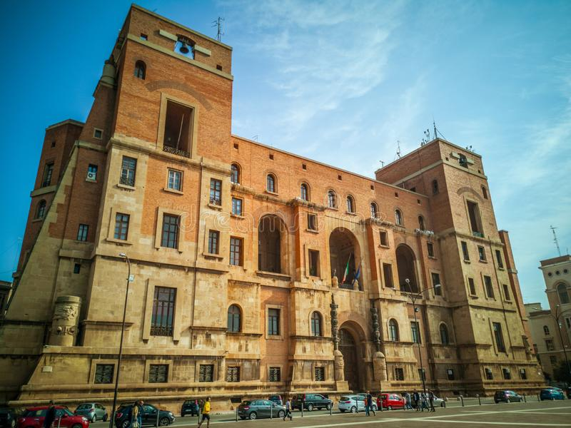 The Government building seat of the Prefecture in Taranto Italy. TARANTO, ITALY. October 21, 2017: The Government building, located in Taranto, is the seat of royalty free stock image