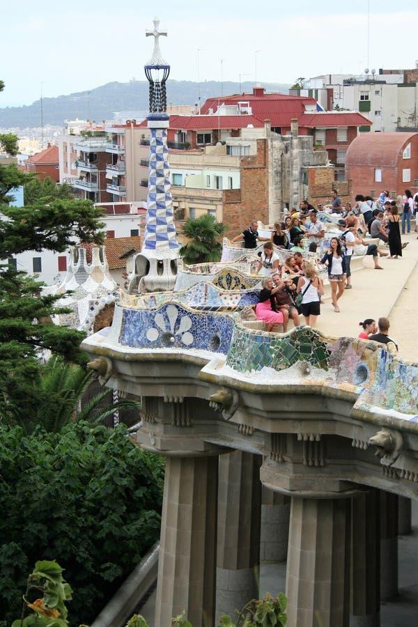Taras Gaudi ` s Parc Guell obrazy stock