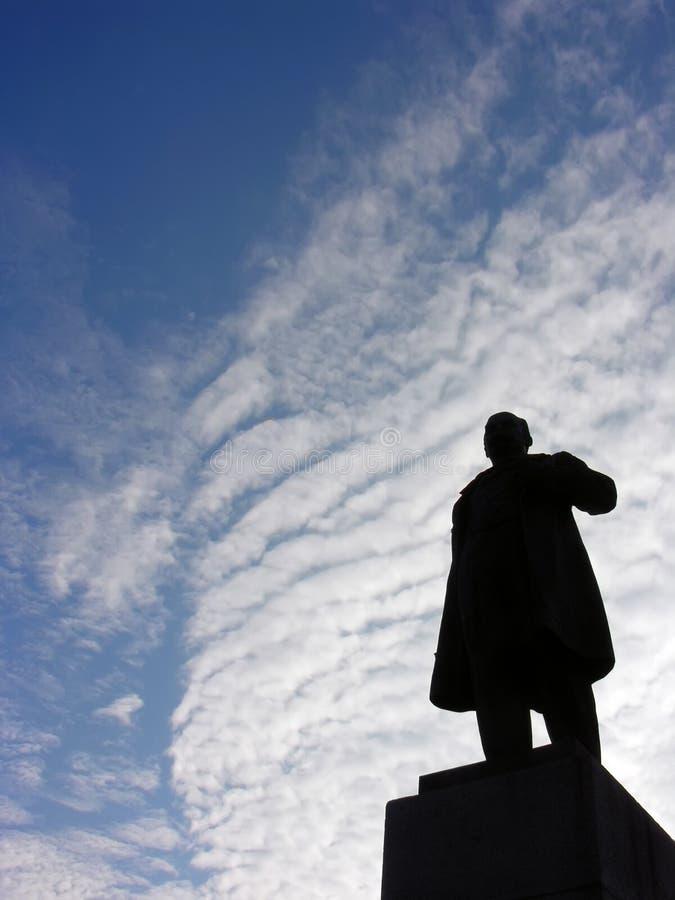 Taras Shevchenko monument, Cherkasy, Ukraine. Back lit royalty free stock images