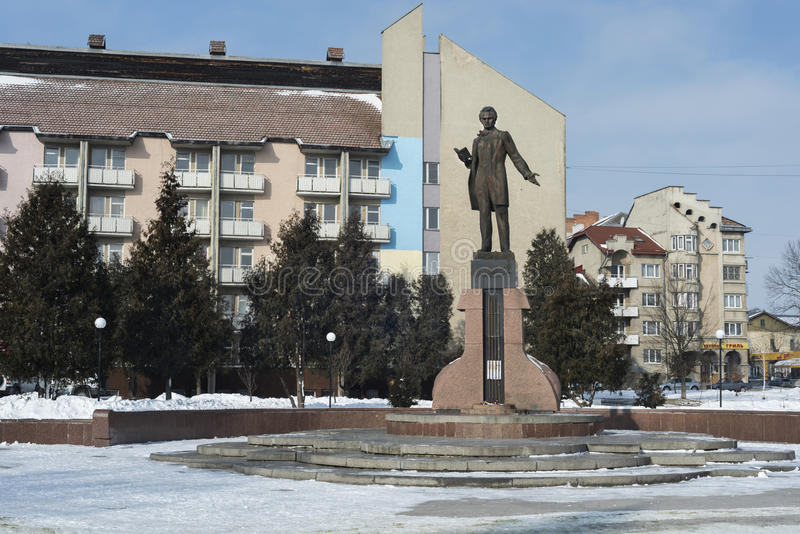 Taras Shevchenko monument in Drohobych, Western Ukraine. Photo taken on: February 17th, 2017 stock image