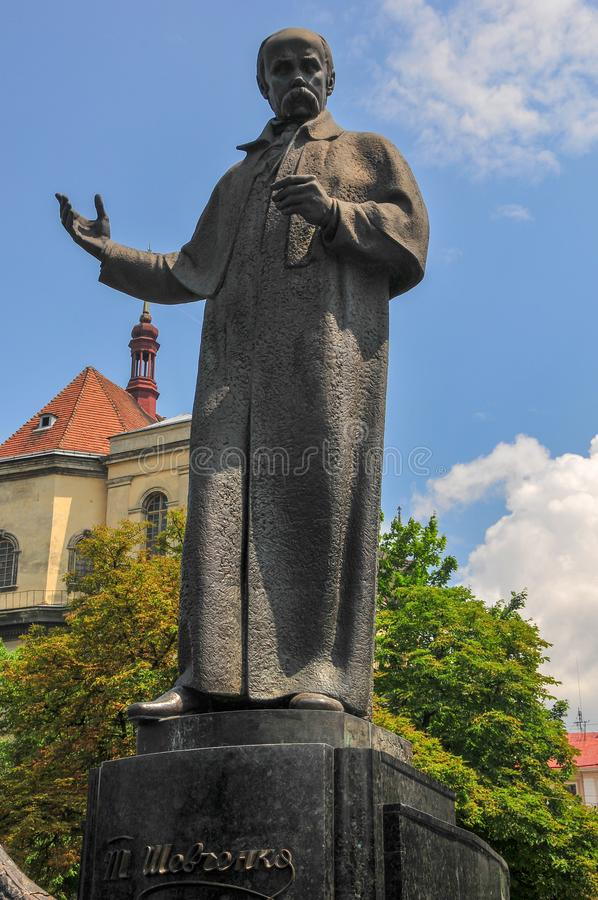 Taras Shevchenko Monument - Lvov, Ukraine. Monument of Taras Shevchenko and the Wave of National Revival. The monument was unveiled on the Prospekt of Freedom on stock photography