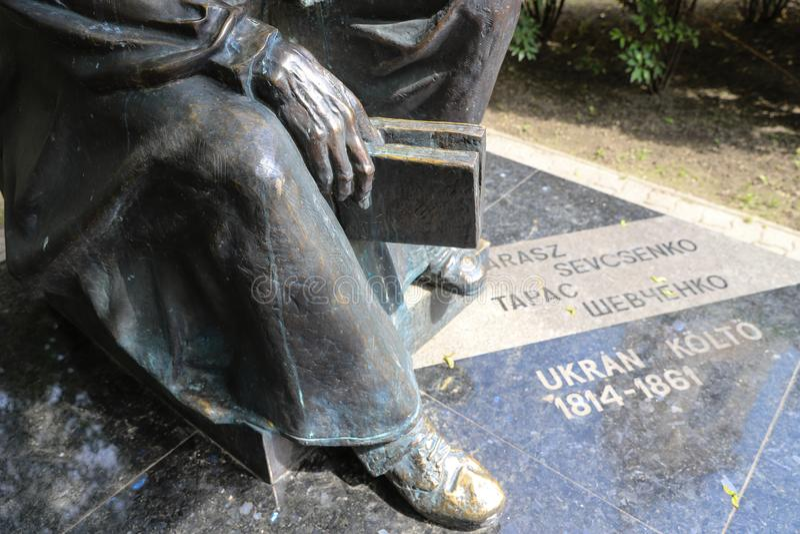 Close-up of Taras Shevchenko monument on Sevcsenko square in Budapest, Hungary. Taras Shevchenko Monument on Sevcsenko ter in Budapest, Hungary stock image