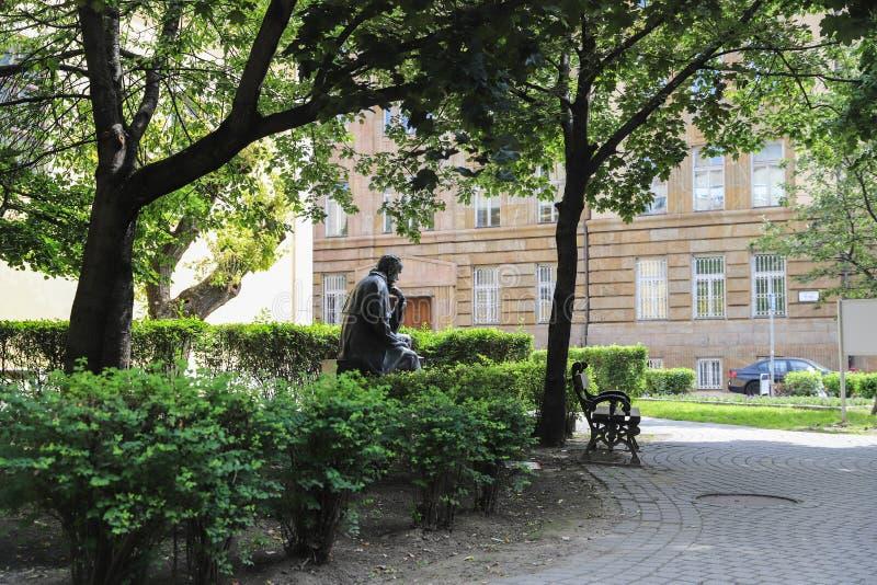 Taras Shevchenko monument on Sevcsenko square in Budapest, Hungary. Taras Shevchenko Monument on Sevcsenko ter in Budapest, Hungary stock photo