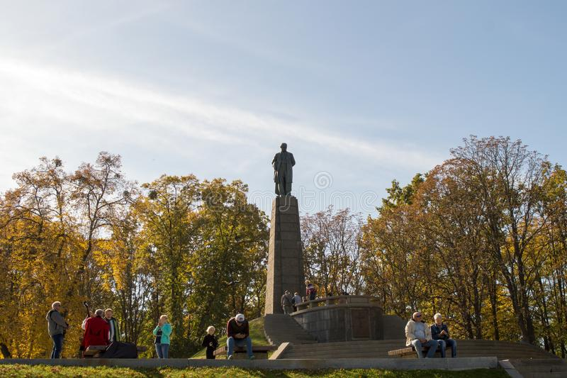 Taras Shevchenko monument on Taras Hill or Chernecha Hora in Kaniv, Ukraine on October 14, 2018. KANIV, UKRAINE - OCTOBER 14: Taras Shevchenko monument on Taras stock image