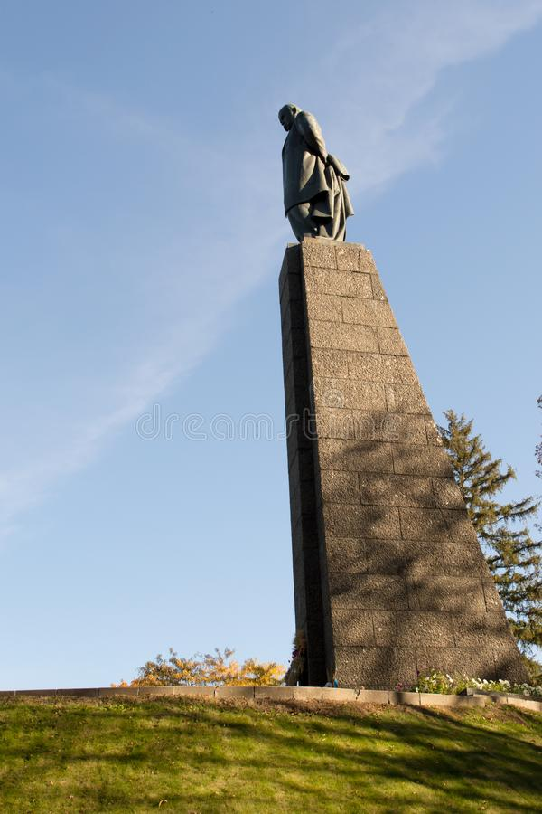 Taras Shevchenko monument on Taras Hill or Chernecha Hora in Kaniv, Ukraine on October 14, 2018. KANIV, UKRAINE - OCTOBER 14: Taras Shevchenko monument on Taras royalty free stock photography