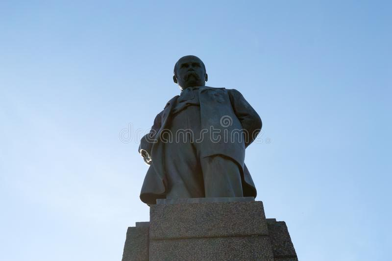 Taras Shevchenko monument on Taras Hill or Chernecha Hora in Kaniv, Ukraine on October 14, 2018. KANIV, UKRAINE - OCTOBER 14: Taras Shevchenko monument on Taras royalty free stock photo