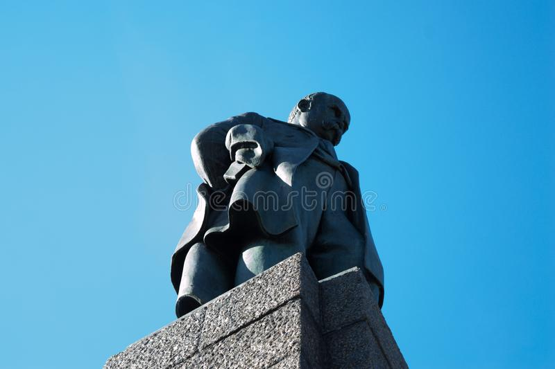 Taras Shevchenko monument on Taras Hill or Chernecha Hora in Kaniv, Ukraine on October 14, 2018. KANIV, UKRAINE - OCTOBER 14: Taras Shevchenko monument on Taras royalty free stock images
