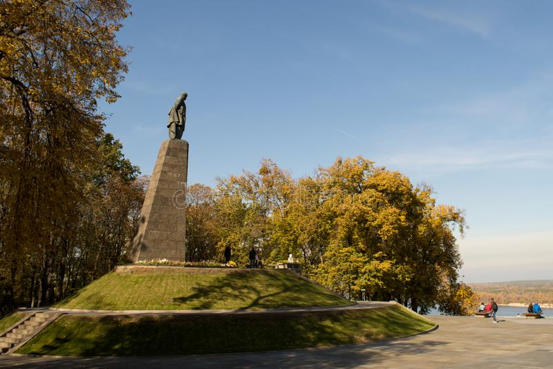 Taras Shevchenko monument on Taras Hill or Chernecha Hora in Kaniv, Ukraine on October 14, 2018. KANIV, UKRAINE - OCTOBER 14: Taras Shevchenko monument on Taras royalty free stock image