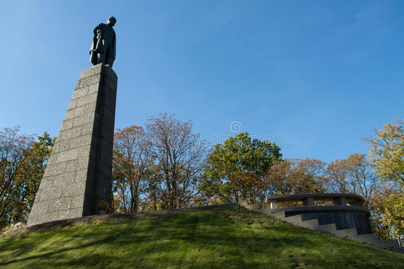 Taras Shevchenko monument on Taras Hill or Chernecha Hora in Kaniv, Ukraine on October 14, 2018. KANIV, UKRAINE - OCTOBER 14: Taras Shevchenko monument on Taras royalty free stock photos