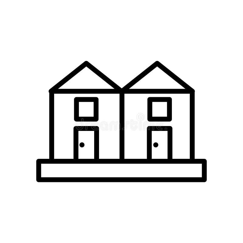 Tarasowaty dom ikony wektor odizolowywający na białym tle, Tarasujący domy podpisuje, linia lub liniowy znak, elementu projekt w  ilustracja wektor