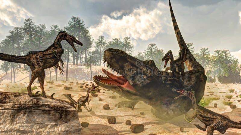 Tarbosaurus由肉食鸟恐龙攻击了- 皇族释放例证