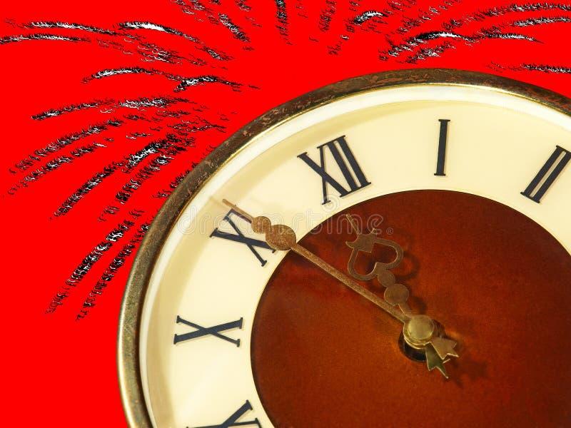 Tarcza godziny i fajerwerki na czerwonym tle wigilia nowy rok ilustracji