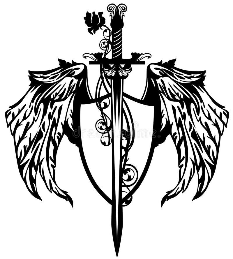tarcza skrzydlaty stwór royalty ilustracja
