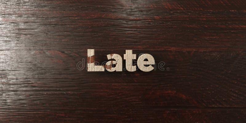 Tard - titre en bois sale sur l'érable - 3D a rendu l'image courante gratuite de redevance images libres de droits
