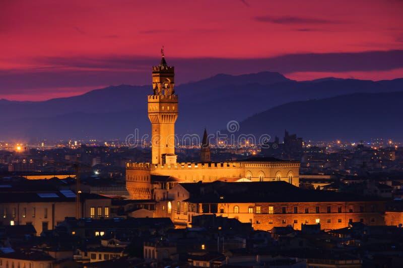 Tarde de Florencia Palazzo Vecchio fotos de archivo