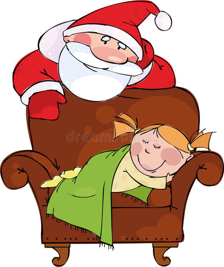 Tarde de la Navidad. Santa con la muchacha durmiente libre illustration