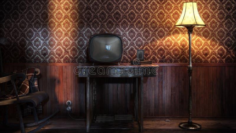 Tarde de la vendimia TV ilustración del vector