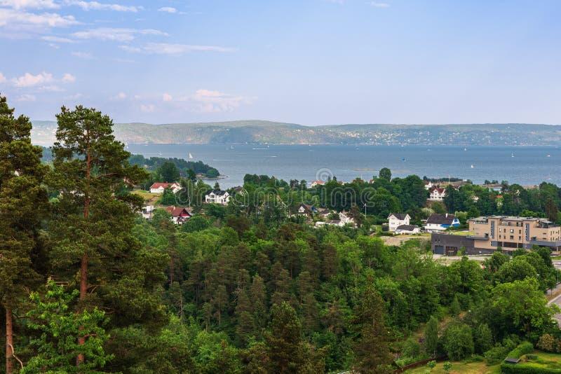 Tarde del verano en el fiordo de Oslo imagen de archivo libre de regalías
