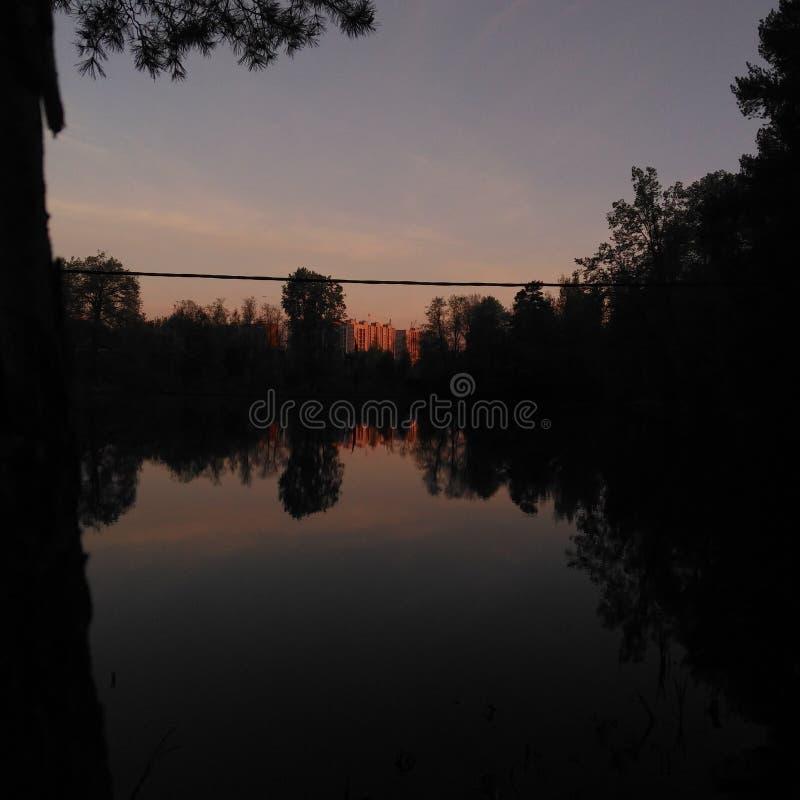 Tarde del verano por el lago imagen de archivo