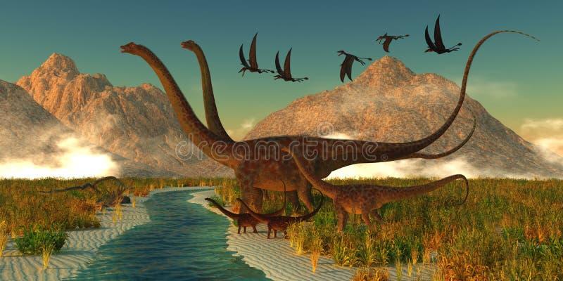 Tarde do dinossauro do Diplodocus ilustração royalty free