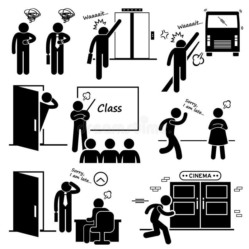 Tarde e apressando-se para o elevador, o ônibus, a classe, a data, o Job Interview, e os ícones do cinema do filme ilustração do vetor