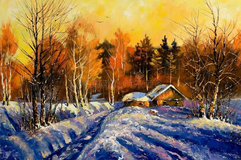 Tarde en aldea del invierno libre illustration