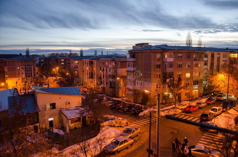 Tarde en la ciudad de Craiova imagenes de archivo
