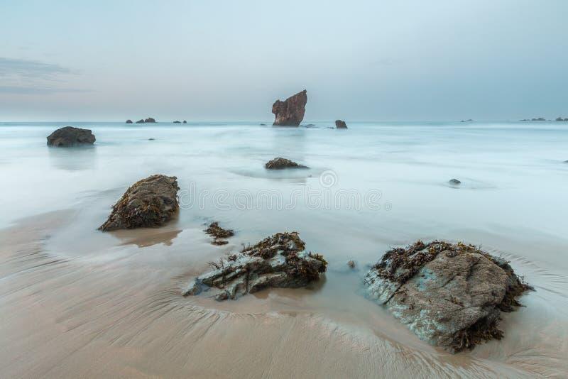 Tarde en la playa de Aguilar foto de archivo