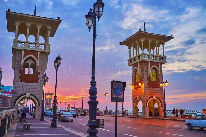 Tarde en la vecindad de Stanley, Alexandría, Egipto imagen de archivo libre de regalías