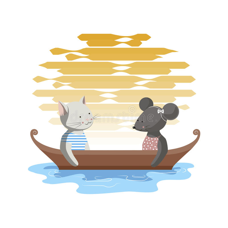 Tarde en un barco libre illustration