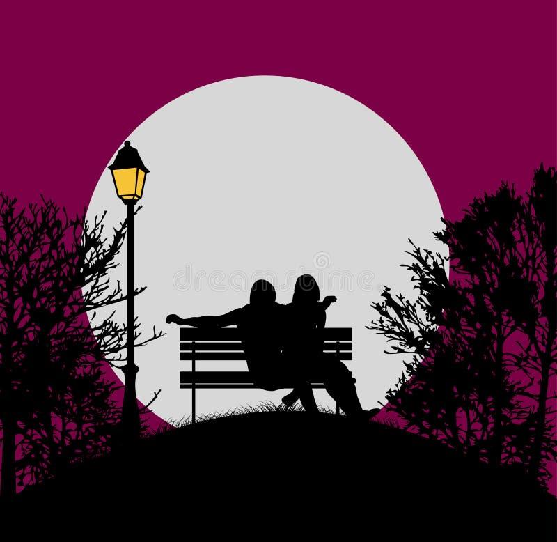 Tarde romántica en el claro de luna stock de ilustración