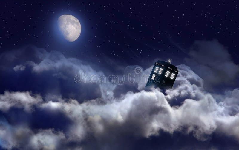 Tardis in de nacht stock illustratie