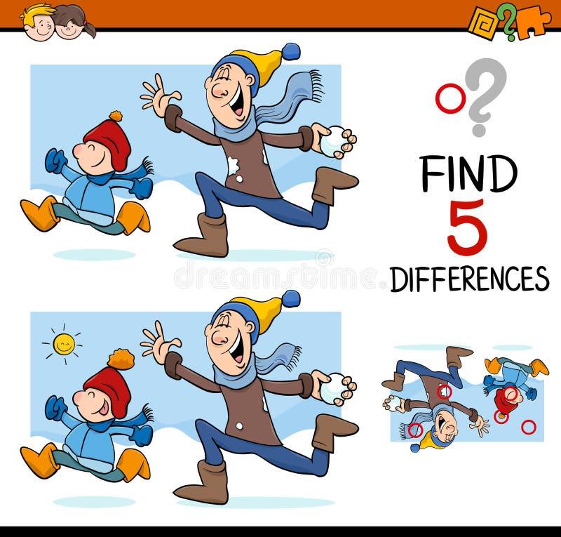Tarea de la actividad de las diferencias ilustración del vector