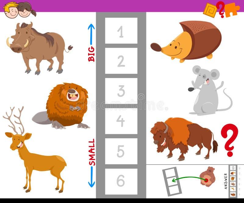 Tarea educativa con los animales grandes y pequeños stock de ilustración