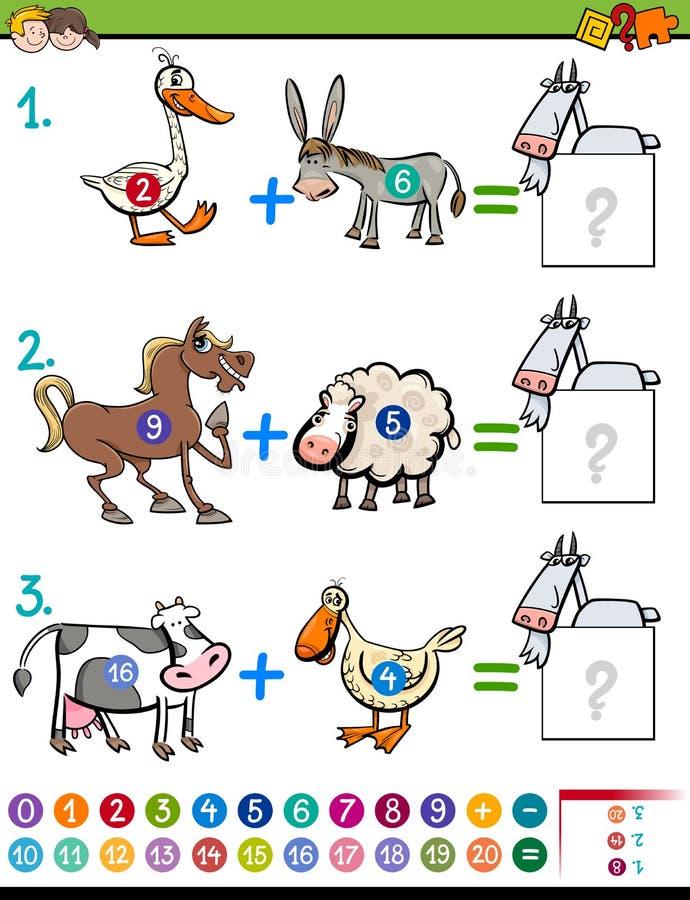 Tarea educativa de la adición para los niños ilustración del vector