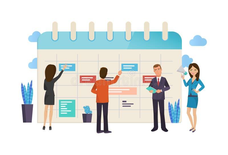 Tareas de la planificación del trabajo en equipo, de la organización y de empresas, control de tiempo, plazo ilustración del vector