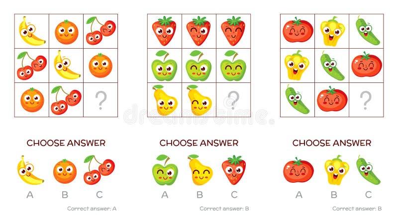 Tareas lógicas compuestas de frutas y verduras stock de ilustración
