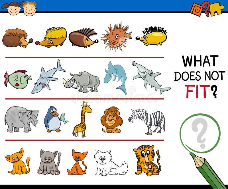 Tarefa de elemento imprópria para crianças ilustração royalty free