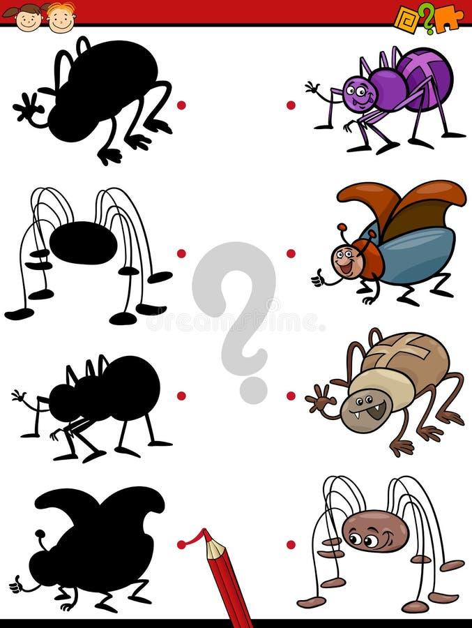 Tarefa educacional das sombras dos desenhos animados ilustração do vetor