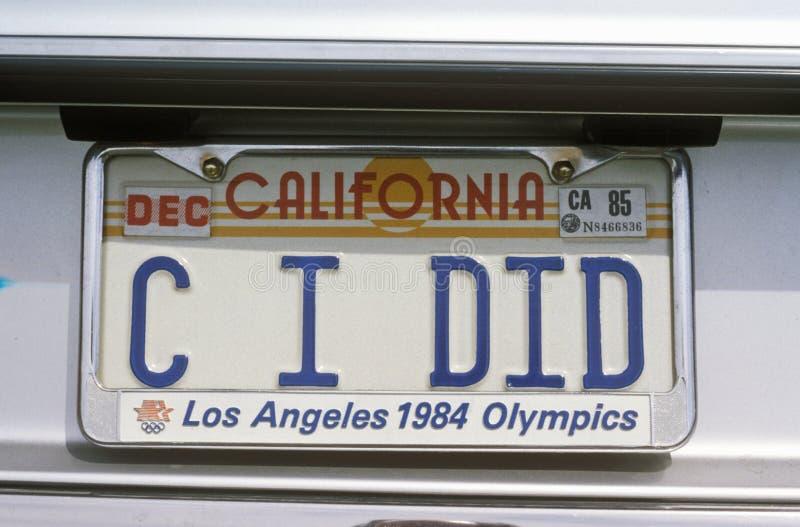 Targa di immatricolazione di vanità - California fotografia stock