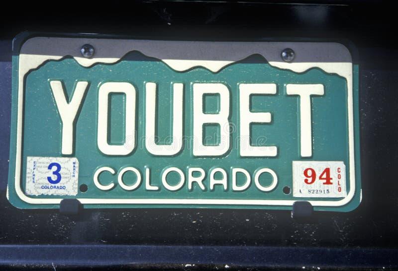 Targa di immatricolazione di vanità - Colorado fotografia stock libera da diritti