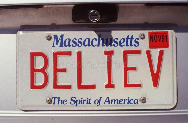 Targa di immatricolazione di vanità - Massachusetts immagine stock