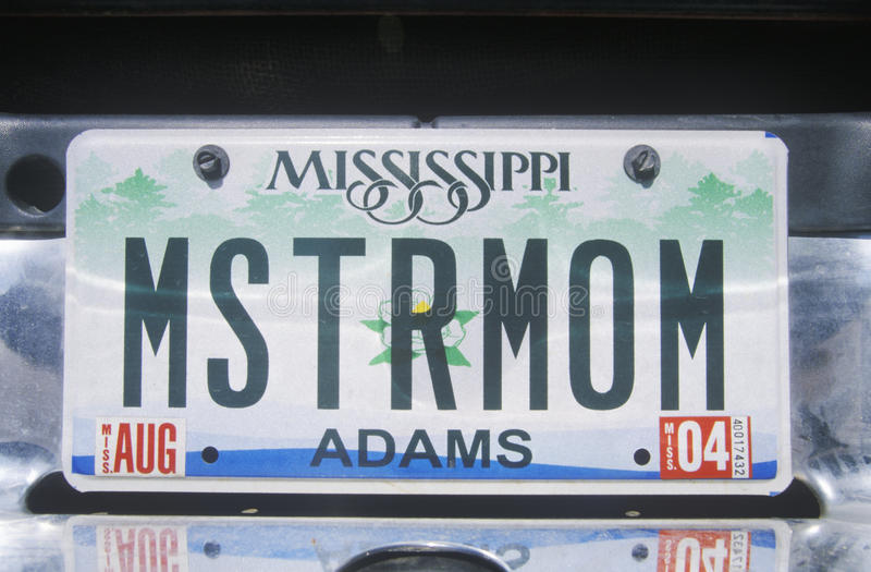 Targa di immatricolazione di vanità - Mississippi immagini stock