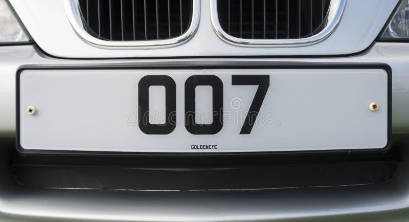 Targa di immatricolazione personale di James Bond 007 immagini stock