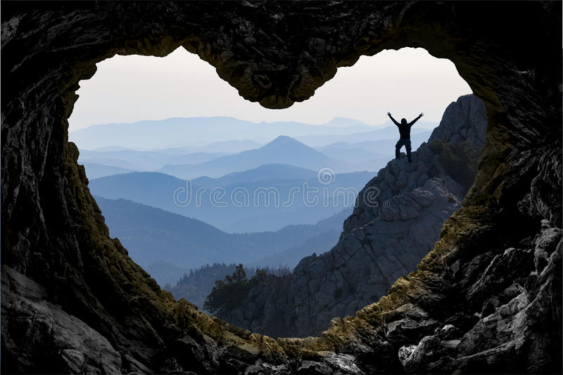 Target achievement in mountain adventure stock photo